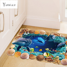 YunXi 3D Seabed Cave Animal World Sticker Bedroom Living Room Corridor Background Decorative PVC Wall Stickers 88*57CM