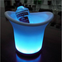 Hoomall Hot High Quality Multi Functional Plastic Acrylic LED Ice Bucket Champagne Wine Beer Luminous Cooler Bar Party