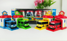 4pcs/set Korean Cute Cartoons garage tayo the little bus model mini tayo plastic baby car for Christmas gift