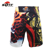 SOTF SURVIVAL OF THE FITTEST breathable cotton boxer shorts sports training Tiger Muay Thai boxing clothing  mma  fight shorts