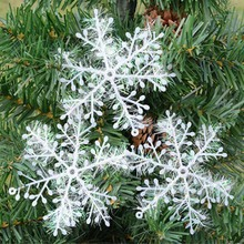 30PCS/lot Christmas Snowflakes Ornaments Xmas tree decoration Festival Party Home Decor White Snow Flakes 11cm New Year Gifts