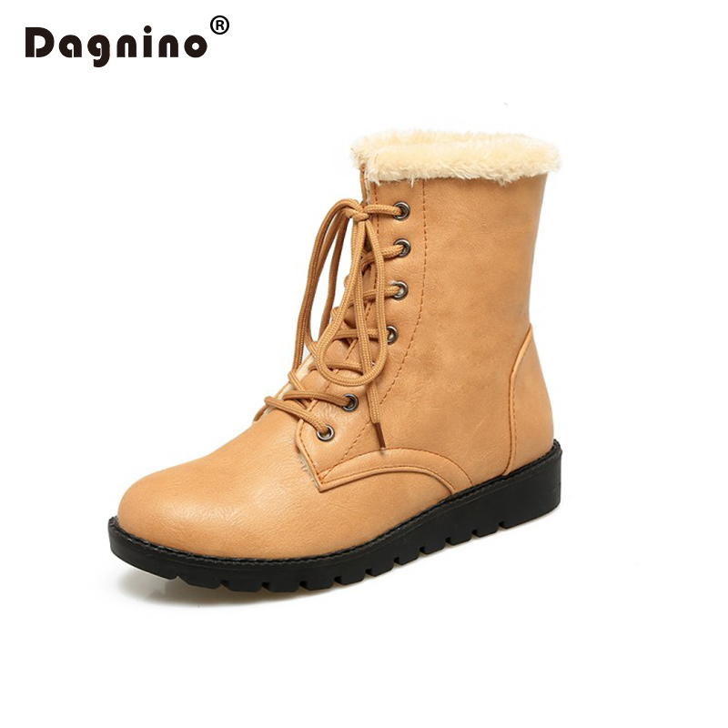 DAGNINO New Listing Woman Ankle Winter Warm Snow Boots For Women High Quality Thick Plush Cotton Casual Lace-up Martens Shoes<br>
