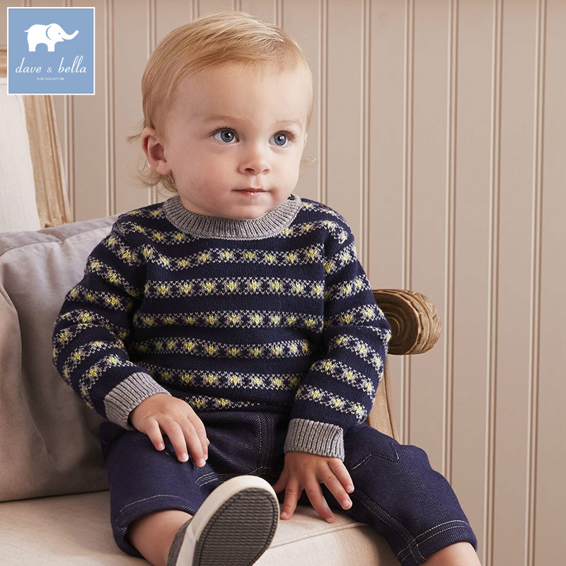 DB5557 dave bella autumn infant baby boys cotton pullover sweater lovely clothes toddler children knitted Sweater<br>