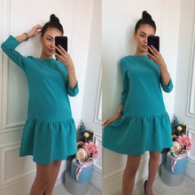 Summer Dress 2017 New Fashion Women Dress Solid Three Quarter Natural O-Neck Casual Style Above Knee Loose Mini Dresses