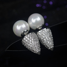 1891492 Fine Pearl Ball Cone Design Ear Stud Double Side AAA CZ Stone Stud Earrings Wedding Brand Jewelry  For Women Girl Gift