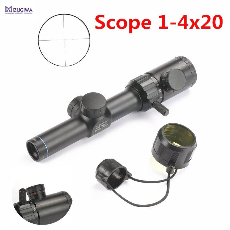 MIZUGIWA Tactical Scope 1-4x20 Rifle Scope Red Green illumination Range Finder Reticle BDC Air Rifle Sight Mira Para Hunting<br>