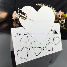 Arrow Through-heart Wedding Table Card Laser Cut Seat Cards Name Cards Wedding Celebration Birthday decca Decoration 7ZSH081-100