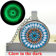 Glow in the Dark Mandala Necklace Circle of Life Serenity Blue Leaves Nature  Art Photo glass dome necklace glowing jewellery