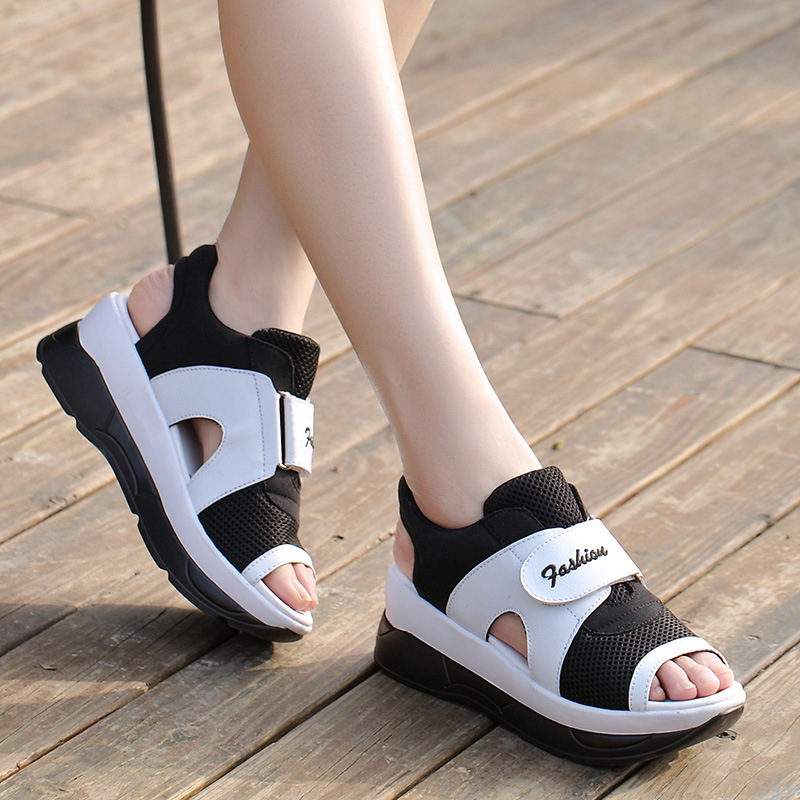 2017 Summer Hook &amp; Loop Sandals Muffin With Waterproof Slope With Heavy-Bottomed Large Size Sandalias Women Peep Toe Ankle Shoes<br><br>Aliexpress
