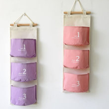 2015 Organizer Organizadores Zakka Style Storage Bags Linen Waterproof Hanging Type Sundries Pockets For Wall Home Decoration