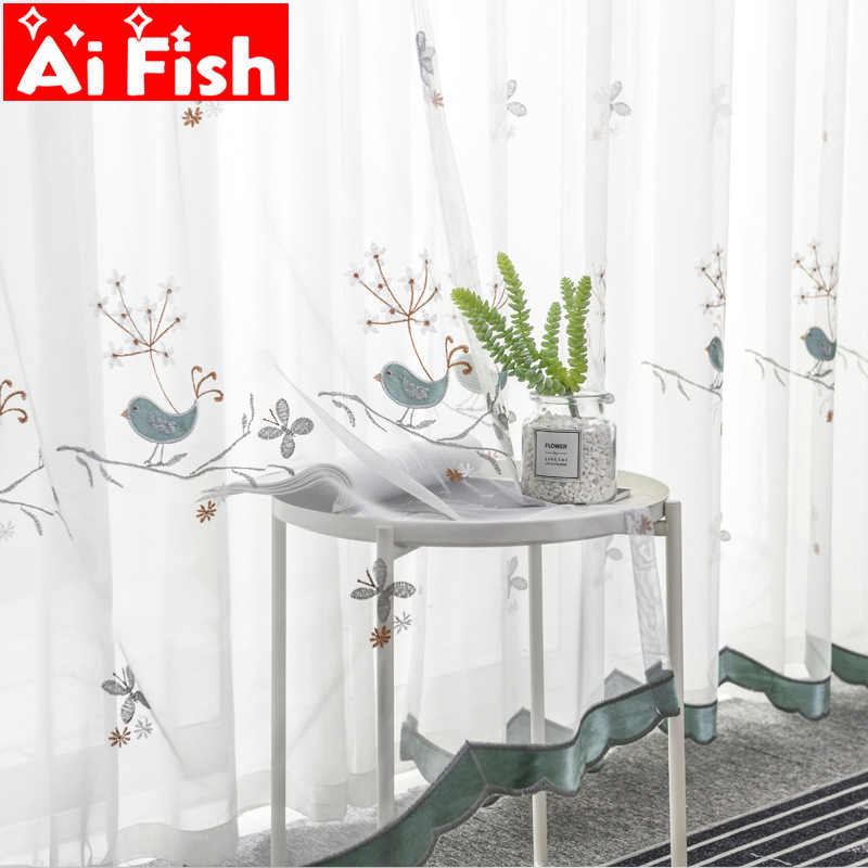 Europe grid velvet embroidered blue bird gauze curtains for children's bedroom purple lace window sheer panels MY064-40