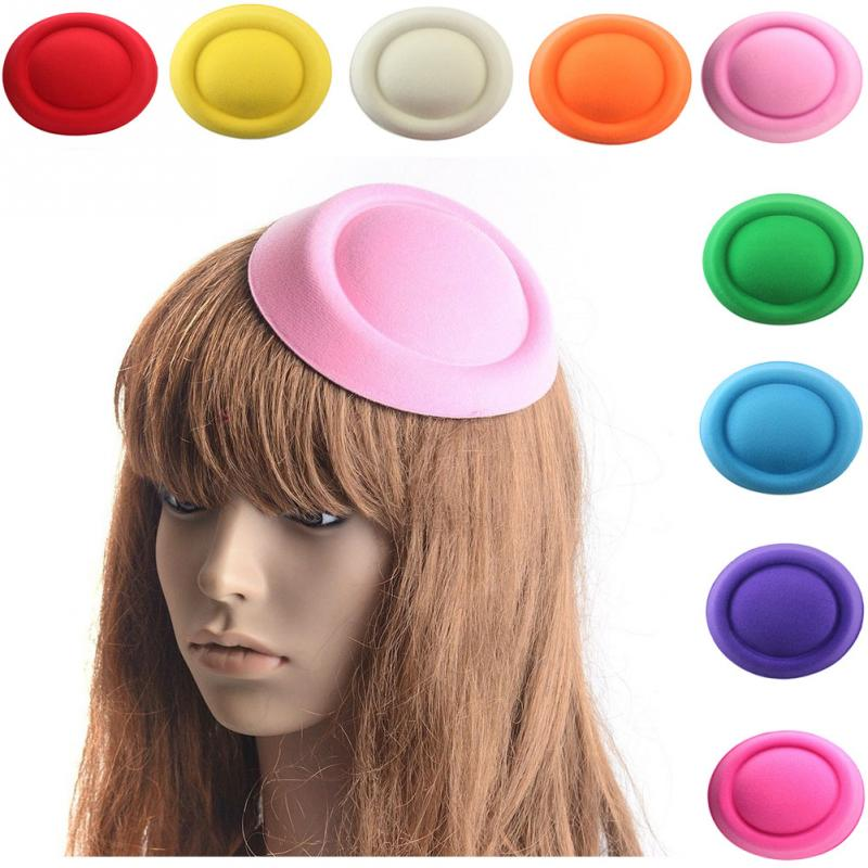 9 Colors To Choose Fashion Lady Women Oval Plain Mini Top Felt Hat