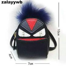 zalzyywb Famous Brand real Raccoon fur monster doll car keychain Trendy Fur bag charm plush golf cart bag pendant car keychains(China)