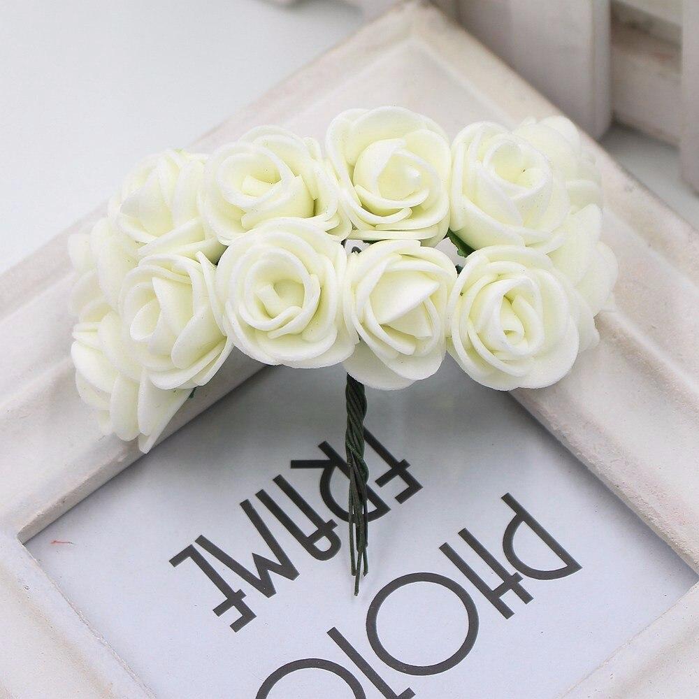 12pcs/lot New Hot 2cm Head Multicolor PE Foam Mini Flower Artificial Rose Flowers Bouquet wedding decorative flowers wreaths 13