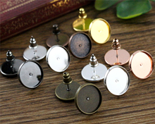 12mm 50pcs/Lot Fashion 7 Colors Plated Brass Copper Material Earring Studs(with Ear plug) Earrings Base,Fit 12mm Glass Cabochons(China)