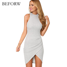BEFORW Summer Women Dress Fashion Irregular Sexy Dresses Gray Short Sleeves Women Clothing Casual Party Bodycon Pencil Dress(China)