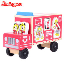 Simingyou 3d Wooden Puzzle Pink Duck Mouse Fire Truck Shape Animal Pairing Toys For Children B40-37 Drop Shipping(China)