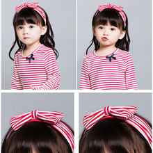 New Cotton Red and White Striped Big Size Bow Hair Elastic Bands Black and Gray Wide Comfortable Little Girls Kids Hairband(China)