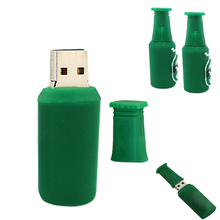 Green Beer bottle 128G Fashion cartoon usb flash drive disk memory stick 8gb 16gb 32gb pendrive  personalized mini computer gift