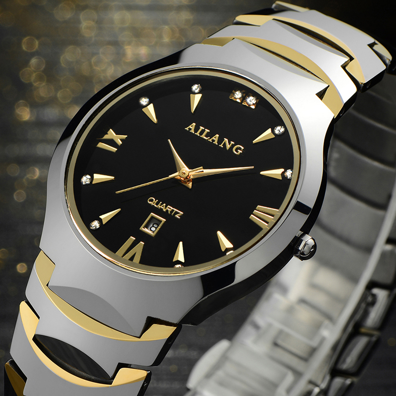 Fashion AILANG Lovers Tungsten Steel Dress Watches Vintage Roman Scale Couples Calendar Wrist watch Quartz Analog Relojes NW8007<br>