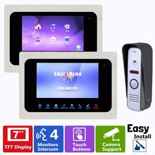 "7"" TFT Color LCD Video Door Phone Video Intercom Door Release Unlock Doorbell Camera 2 monitor+1 camera F1356D"