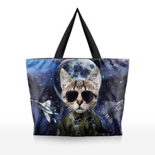 2016 New bayan canta Handbags Cool Cat Printed Female Women Single Shopping Tote Beach Bags Shoulder Bag Bolsa Feminina