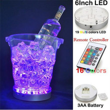 6INCH RGB Remote Controlled  Hookah Ice Bucket Decor LED Light Base, Sliver Round LED Light Base with Party Decoration