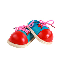 2PCS Fashion Kids New Hot Educational Toys Children Wooden Toys Toddler Lacing Shoes Early Learning Education Teaching Aids(China)