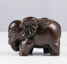 Ebony hand aloes wood carving high density black leather crafts wooden elephant animal ornaments(China)