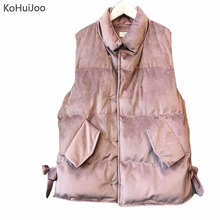 KoHuiJoo Winter Vest Women 2017 Korean Big Bow Cotton Padded Pockets Sleevless Down Quilted Velvet Vest Jacket Female Waistcoats(China)
