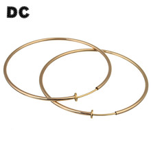 DC 1 Pair/lot Fashion Gold Silver Black Color Big Earring Loop Hoops Outer Dia 60mm for Women Simple Party Jewelry Gifts(China)