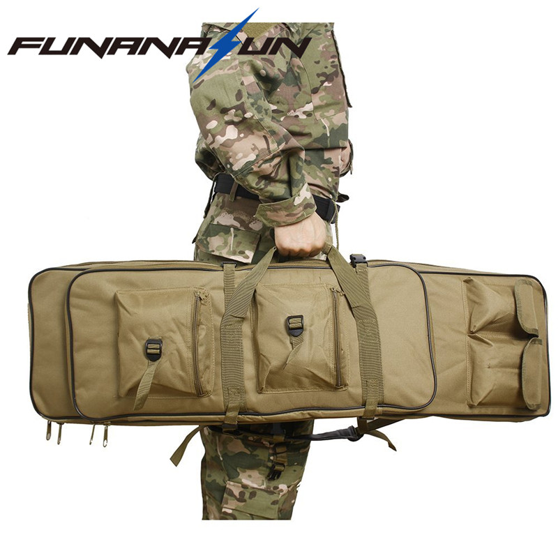 120cm Hunting Military Dual Rifle Pistol Gun Case Cover Bag Tactical Airsoft Backpack Magazine Pouch Shoulder Fishing Storage <br>