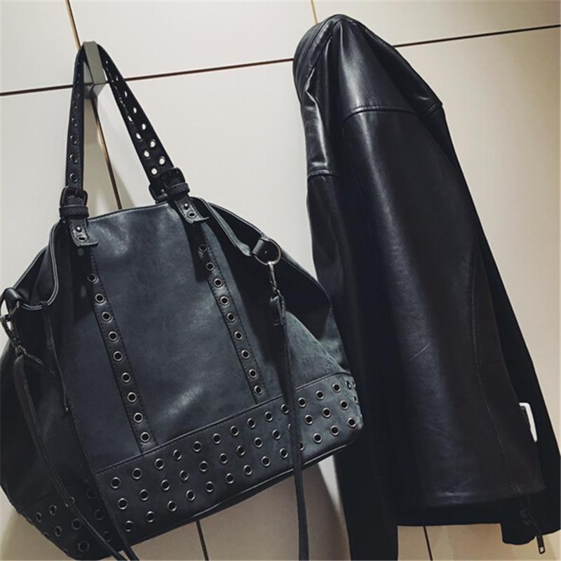 Fashion Punk Rivet Canvas Women Top-Handle Bags Girl Handbags Tote Bags Ladies Shoulder Bag Black Shopper Bag Bolsas,WH0131<br><br>Aliexpress