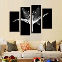 4 Pcs/Set Combined Modern Wall Paintings Abstract Canvas Wall Art Picture White Floral In The Black Artist Canvas Print Pictures