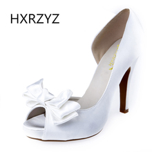 HXRZYZ women fashion fish mouth open toe wedding shoes silk surface bow ladies high heel bridal shoes white red black big size
