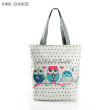 Buy Cartoon Owl Print Casual Tote Lady Canvas Beach Bag Female Handbag Large Capacity Daily Use Women Single Shoulder Shopping Bags for $3.95 in AliExpress store