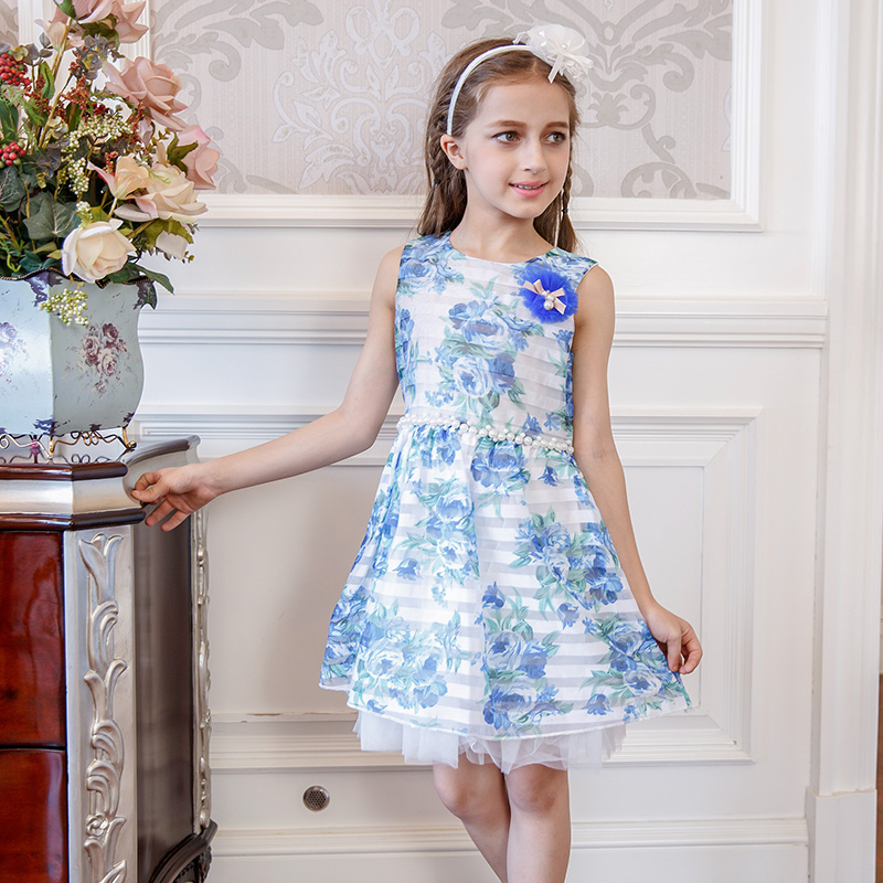 Sleeveless Floral Girl Dress O-neck Knee Length Casual Summer Flower Dress With Beads For 4-12Y Girls vestidos<br>