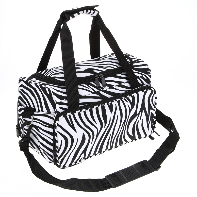 Pro Hairdressing Tools Bag Canvas Zebra Design Handbag Stored Scissors Clips Salon Barber Portable Storage Toolkits<br>