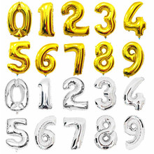 Large 32 Inch Gold Silver Number Foil Balloons Bachelorette Party Supplies Ballon Helium Wedding Balloons Decoration Birthday
