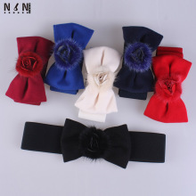 New sweet bowknot decorates waist elastic obi girl ostrich feather ACTS the role of tie-in sweater accessories fashi