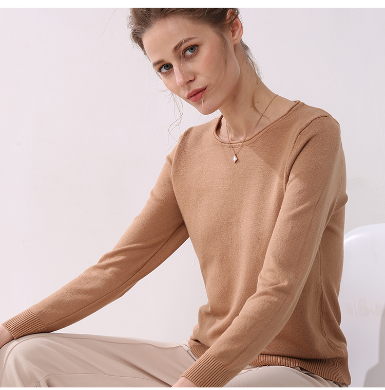 Women knitting sweater long sleeves curled O-neck collar female Short Casual Solid fashion thin pullover Ladies winter sweaters 6