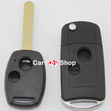 Keyless Entry Remote Cover Uncut Flip Key Case Shell 2 Botton for Honda Accord FIT CRV Replacement Fob SHELL