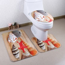 3 pieces/set Beautiful Ocean Scene Style Carpet Toilet Mat for Three Sets of Bath Mat for Bathroom(China)
