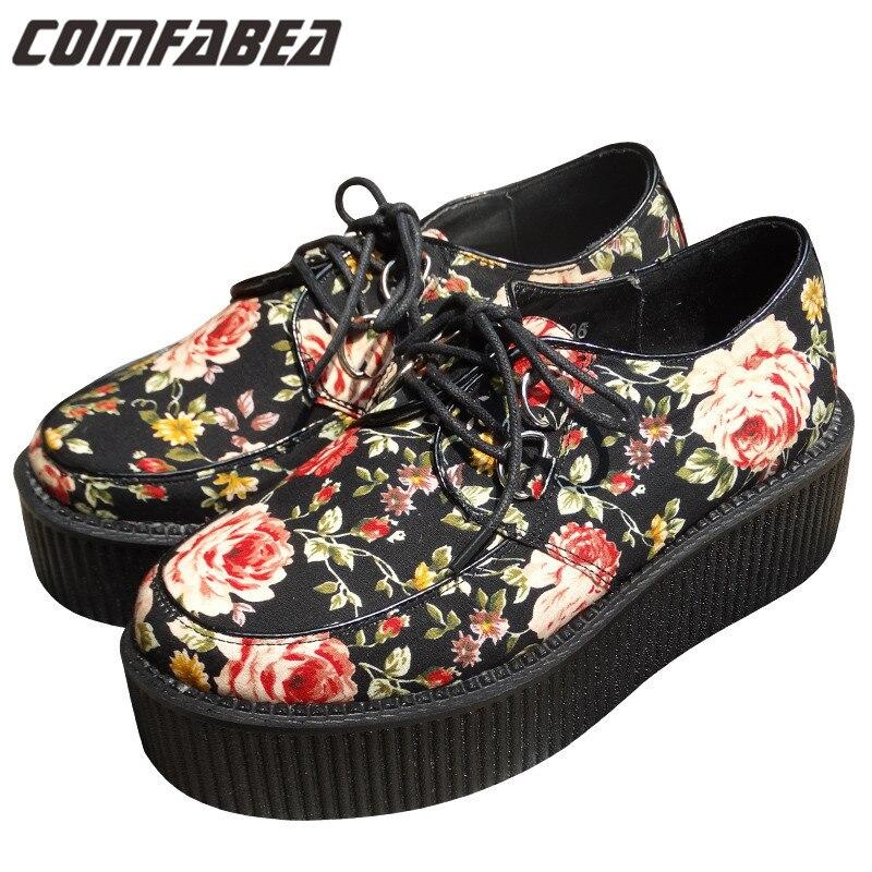 Women Platform Shoes Plus Size 35~42 2017 Vintage Womens Flat Platform Flower Fashion Creepers Goth Punk Shoes For Women<br><br>Aliexpress