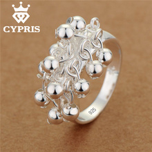 SALE Hot Promotion Promotion silver Ring Grape bell style Fashion Ring classic Balls Women Party lady gf gift xmas R016 925