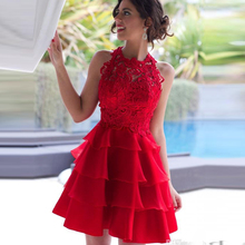 Arabic Red Homecoming Tiers Ruffles Skits Zipper Back New Prom Dresses Short Lace vestidos 2017