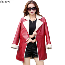 Winter Coat Women Blending Sheepskin Genuine leather Coats ladies Thick Warm Autumn Trench Woman Big Size Leather Jacket Elegant(China)