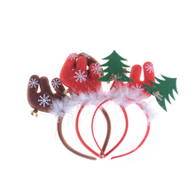 2017 Deer Head Hoop Christmas Hair Head Bell Red Antler Band Buckle Gifts Party Decoration Supplies 1pc(China)