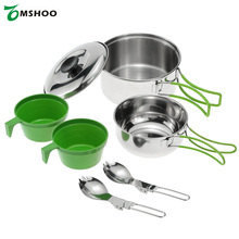 Newest Cookware Set Stainless Steel Cook Set Backpacking Cooking Picnic Bowl Pot Set Outdoor Camping Hiking Cookware Set