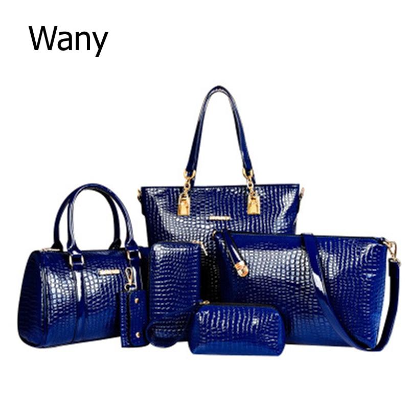 6 PCS/Set Women Bag Crocodile Pattern Composite Bag Stone Women Messenger Bags Shoulder Handbag Purse Wallet PU Leather Handbags<br>
